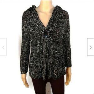 BCBGMaxazria black chunky sweater with hood